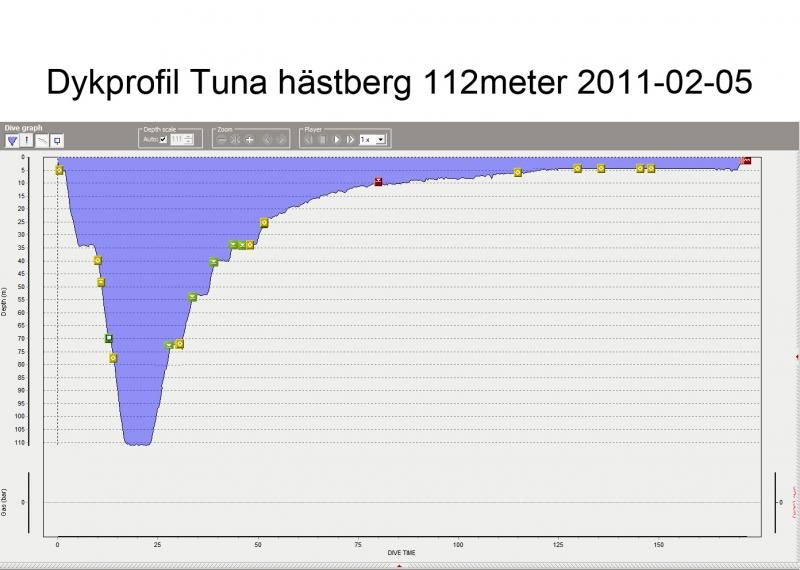 Dykprofil för djupdyk i Tuna Hästberg 112m